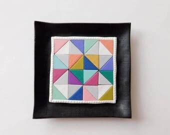 Quilt Block Ring Dish, polymer clay trinket dish, jewelry holder
