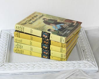 Nancy Drew Stories / Mysteries by Carolyn Keene Set 5 Yellow Hardcover Books Vol. 2 , 6 , 11 , 12 , 17 Light Reading for Tweens & Kids