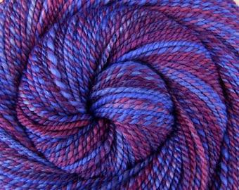 Worsted Weight Handspun Yarn - HOLLYHOCKS - Handpainted 60/40 Polwarth/Silk, 202 yards, purple handspun yarn, gift for knitter, weft yarn