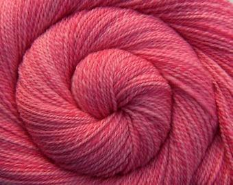 Handspun Yarn Fine Fingering weight- CARNATIONS - Handpainted Merino wool, 243 yards, gift for knitter, pink handspun weft yarn