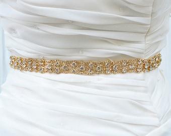 GOLD Wedding Belt, Bridal Belt, Sash Belt, Crystal Rhinestones sash belt, Party Sash,vintage sash belt