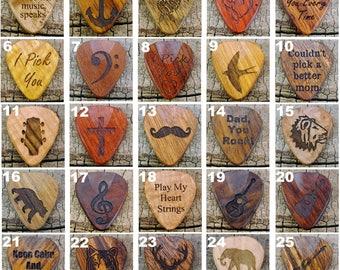 Ready to Go Picks - Individual Picks - Wood Guitar Pick - Guitar Pick - LASER ENGRAVED
