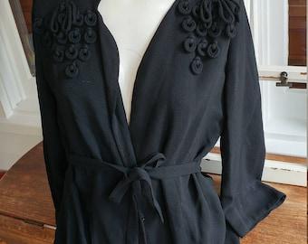 1950s black front tie suit jacket