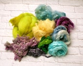 "Card it Up Kit with fibers for carding, spinning, felting or weaving 4 ounces in ""Cornflower Blues"" Blues, Greens, Yellow and Purples"