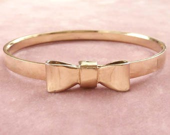 Bow Bangle Bracelet Goldtone Retro Vintage Classy