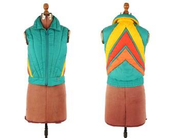 Vintage 1980's Mountain Goat Retro Green Orange + Yellow Chevron Nylon Puffy Puffer Ski Winter Vest M L