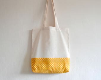 Shopper eco friendly tote market bag accent sunshine yellow white star lined print cotton zero waste produce shoulder bag.
