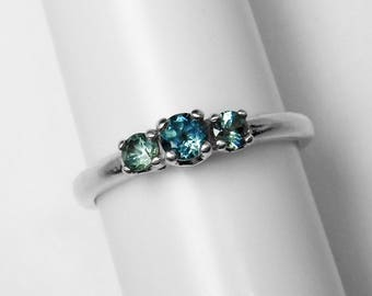 Montana Sapphire 3-Stone Ring in Silver