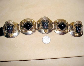 Vintage Unsigned Selro Black Princess Heads Bracelet With Faux Pearls 1950's Jewelry 2025