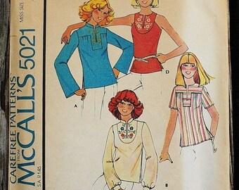 25%off Sizzlin Summer Sal McCall 5021 1970s 70s  Prairie Girl Yoked Shirt Hippie Boho Bohemian Vintage Sewing Pattern Size 10-12 Bust 32.5-3