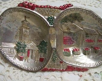 Vintage Metal Ashtray Souvenir of Hollywood California  The Original Farmers Market  Circa 1950s Hand Painted Metal Made in Japan