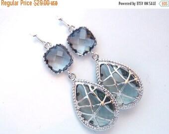 SALE Gray Earrings, Grey Earrings, Silver Earrings, Charcoal Earrings, Wedding, Bridesmaid Earrings, Bridal Earrings Jewelry, Bridesmaid Gif