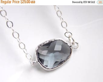 SALE Gray Necklace, Charcoal Necklace, Glass, Sterling Silver, Grey, Wedding Jewelry, Bridesmaid Jewelry, Bridesmaid Necklace, Bridesmaid Gi
