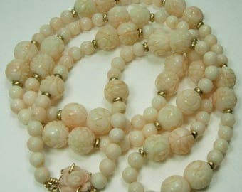 60s Carved Angel Skin Coral 14KT Gold Beads Necklace Carved Rose Clasp Chinese Beads 75 Grams 33.5 Inches
