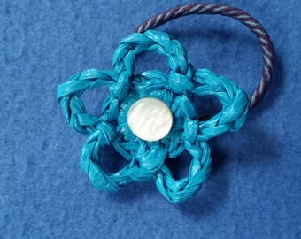 Blue Plarn Flower Ponytail Holder with Vintage Mother of Pearl Button, recycled plastic bags, blue and purple eco-friendly hair tie