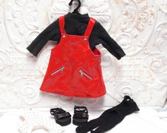 American Girl Red Faux Leather Dress Pleasant Co Shirt Vintage Shoes Tights