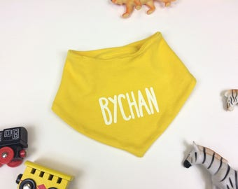 Welsh Baby Toddler Yellow Cotton Bib Bychan Little White Unisex