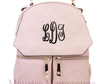 Personalized Dusty Pink Small Synthetic Leather Backpack Purse FREE Monogram