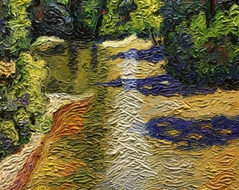 "Original Impressionist style Impasto oil ""Up The River"" 16x20"