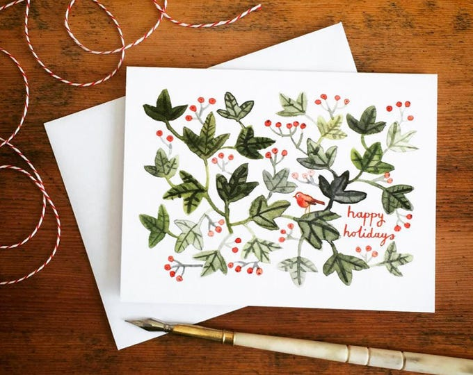 happy holidays robin in ivy greeting card