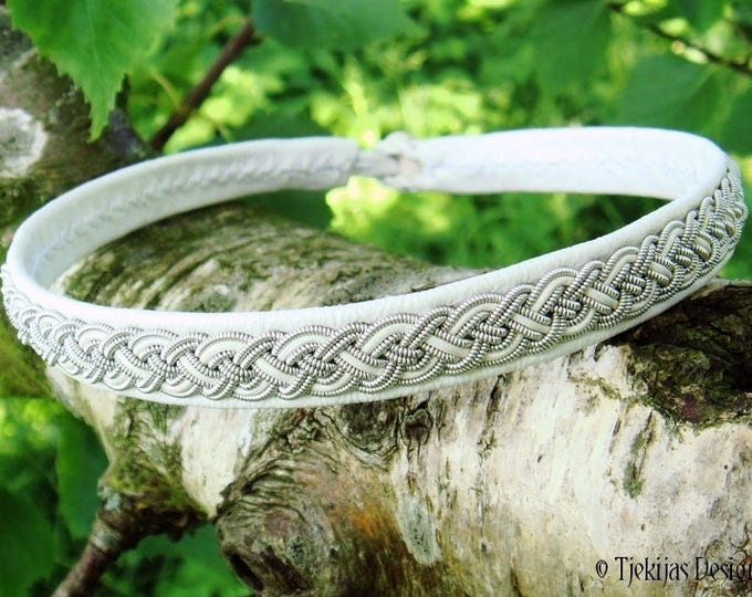 Scandinavian Viking Necklace NIFLHEIM White Leather Choker Collar with Sami Pewter Braid and Antler closure - Custom Handmade to Your Wishes