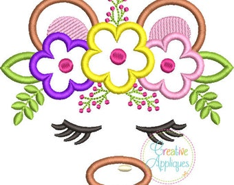 Bear Face with a Crown of Flowers - Appliqued and Personalized
