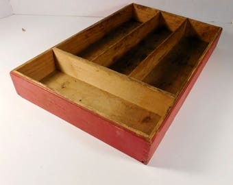 Vintage Old Red Paint Dovetail Wooden Cutlery Tray FREE SHIPPING