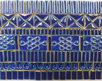 175+ Handmade Ceramic Mosaic Tile Pieces Ceramic Tile Stoneware Oceanic Dark Blue Glazed Craft Tiles Assortment #1