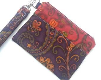 Wristlet Wallet  - IPhone 7 Wristlet - Womens Wallet  -  Minimalist Wallet  - Zipper Pouch  - Cellphone Wallet  - Clutch  - Purse - Wristlet
