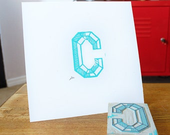 Simple Linoleum Print Poster - Letter C