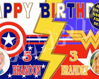 Captain America, Wonderwoman, Fourth of July Celebration, red, white, blue, Personalized Birthday Banner - email your child's name age photo