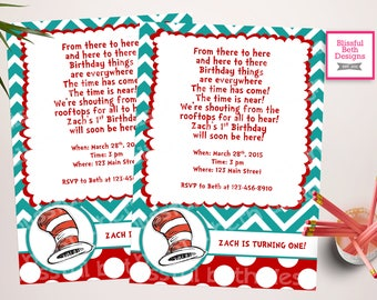 SEUSS BIRTHDAY INVITATION Dr. Seuss Red and Blue Birthday Invitation, Printable Dr. Seuss Birthday Invitation, Seuss Birthday Invite