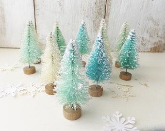 "Flocked Mint Blue Bottle Brush Trees ~ Christmas / Woodland Decor ~ Set of 10 ~ Fairy Garden ~ Putz Village ~ Vintage Style ~ 2.25"" ~"