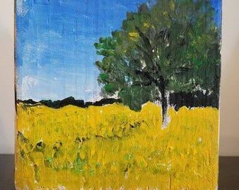 Landscape painting, abstract, tree, yellow flowers field original on wood block, inpressionist, original