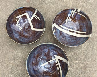 Ceramic Bowl Set, set of 3. Handmade Pottery