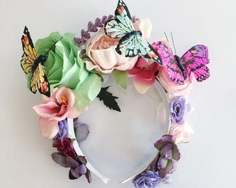 The Flight of the Butterfly Crown pastel cosplay costume flower crown