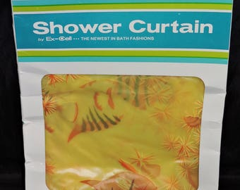 Vtg NIP Yellow Orange Fish Shower Curtain by Ex Cell Vinyl Tropical Fish 70x 72 in USA Made