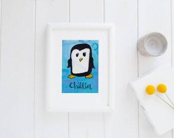 Chillin   pun print   cute animals   penguin   artwork   animal pun   kids   home decor   office decor   motivation   nailed it