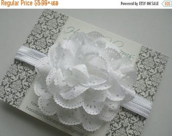 SALE Beautiful White Eyelet  Flower on White Shimmery Elastic Headband - Newborn Baby - Photo Prop - No Slip - Baptism Christening