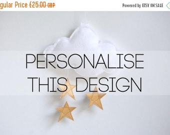 SALE Personalised Cloud and Stars Baby Crib Mobile - Gold or Silver Stars