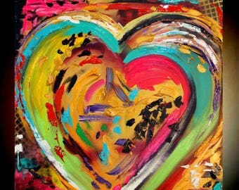 "Original 24""gallery canvas Abstract HEART painting,Original comtemporary Art,lots of texture Ready to hang  by Nicolette Vaughan Horner"