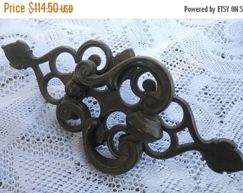 On Sale Vintage Hardware - Antique Brass Door Knocker -  Home Decor Restoration Supply - Vertical Authentic & Original Art Deco Mid Century
