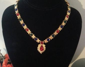 On Sale Vintage Rhinestone Runway Bib Statement Necklace Retro Rockabilly Mad Men Mod Old Hollyood Glam Jewelry