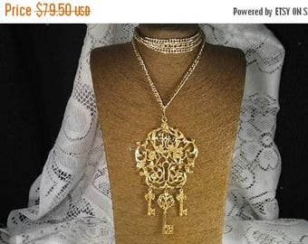 Now On Sale Very Long Necklace, 86 Inches Long, Huge Lock & Key Ornate Pendant, 1960's Collectible Jewelry