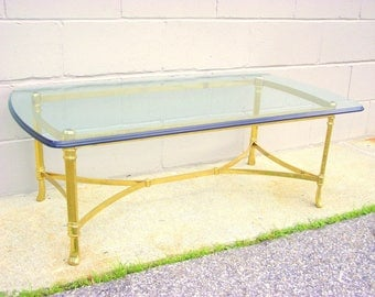 Exceptional Italian Brass Coffee Table LaBarge Style Cocktail Table   Solid BRASS Glass  Top Hollywood Regency By