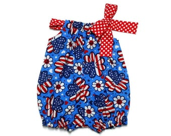 Baby Bubble Romper Baby Pillowcase Romper Baby Sunsuit Patriotic Flower Power Red White and Blue Fourth of July 4th Red Polka Dot