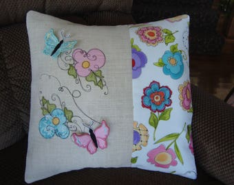 3-D Butterfly Floral Throw Pillow Cover Burlap Pink Teal Flower Throw Pillow Cover 18 By 18 Size Grannies Embroidery
