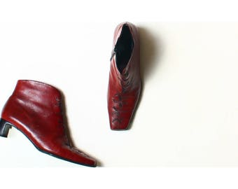 Vintage K S Shoes Red Leather Ankle Boots UK 6.5 US 8.5 EU 39