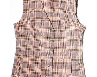 Vintage 60s Hand Made Brown Orange Wool Waistcoat UK 10 US