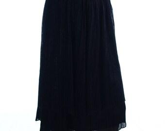 Vintage 80s Black Tiered Crepe Pleated Skirt UK 12 US 10